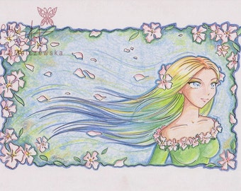 SPRING - original manga traditional art - SALE