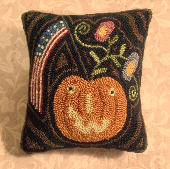 Punch Needle Pillow Primitive Americana Pumpkin And Penny Flowers