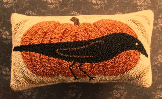 Primitive Needle Punch Pillow Fall Crow And Pumpkin