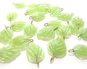 Milky Jade Green Glass Birch Leaf with Brass Loop, 15mm - 12 pieces