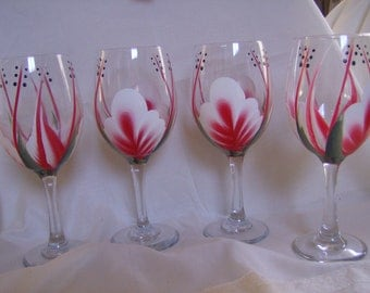 Wine glasses goblet Handpainted, Red and White