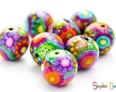 Disco Ball - 8 polymer clay round beads - 18mm