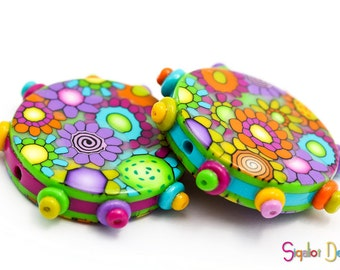 Smile- Spiders Addition- 2 polymer clay round flat beads - 30mm