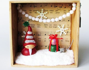 Christmas Eve Assemblage Art Box- One-Of-A-Kind- 3D Diorama featuring Clay Santa Claus, Presents, and Miniature Mouse Sculptures