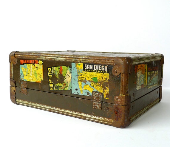 WWII Sailor Small Travel Trunk with Decals