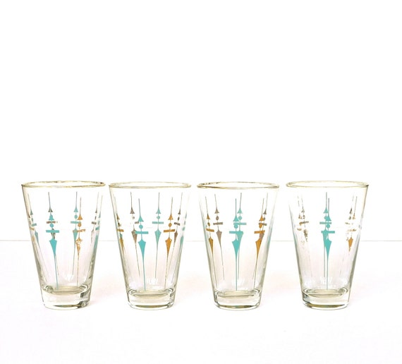 Reserved for Clayton  Set of Four Tapered Aqua and Gold 1960s Barware Glasses