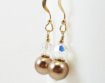 Bronze pearl and crystal earrings PROVINCE Wedding Bridal Bridesmaid Swarovski Gold Filled