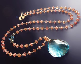 CUSTOM Made to Order - 14k Blue Topaz Necklace with Orange Padparadscha Sapphires