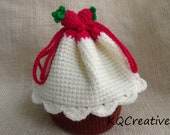 Crochet Vanilla Cupcake wristlet with strawberries Topping - READY TO SHIP