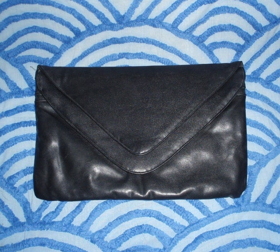 70s Large Black Vegan Envelope Clutch Purse