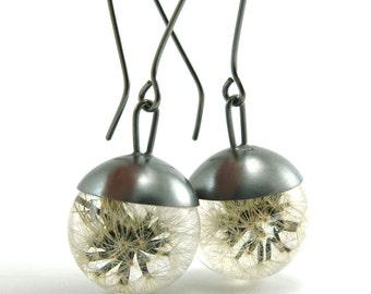 Dandelion Resin and Silver Earrings, Floral resin Earrings