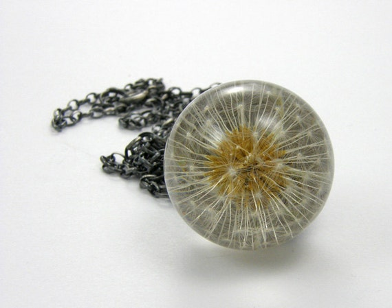 Dandelion and Resin Pendant, Dandelion and Silver Resin Necklace