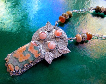 Sterling Silver Ocean Jasper and Fine Silver and Salmon Coral Seaside Bouquet OOAK Statement Necklace