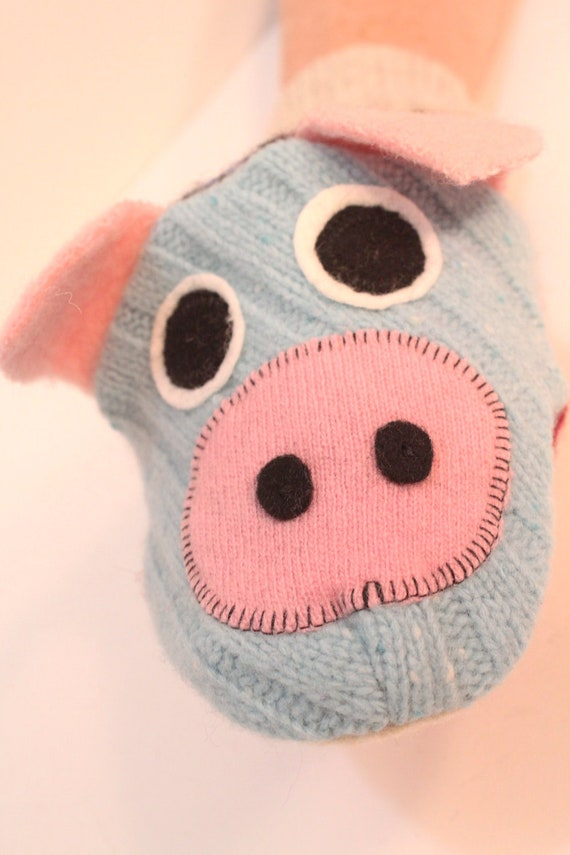 Handpuppet  Pig named Flower made of seven recycled 100% wool sweaters