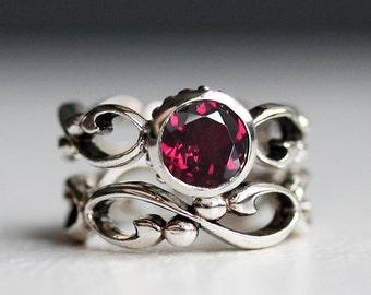 Rhodolite garnet engagement ring set, infinity engagement ring, bridal set rings, January birthstone, anniversary rings for her, Wrought