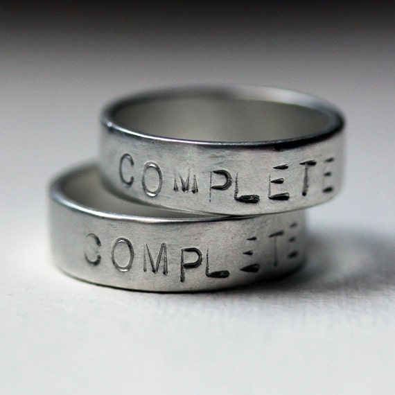 Hand stamped - personalized - silver wedding bands - recycled sterling - Muse - commitment rings - made to order
