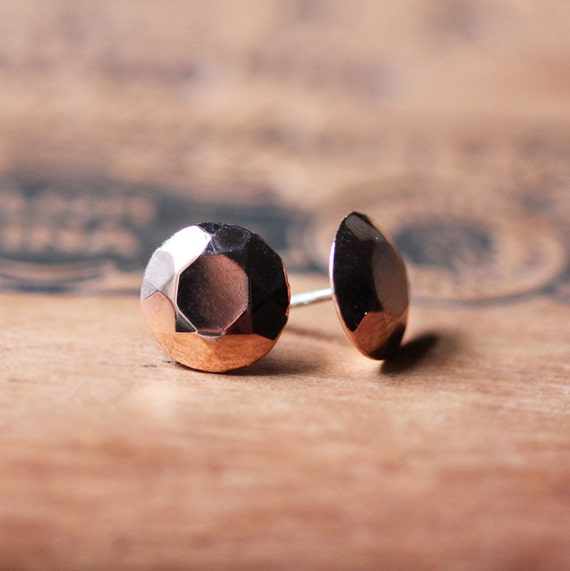 Pink diamond stud earrings - rose gold stud earrings - faceted metal gemstones - plated sterling silver - mothers day gift - ready to ship