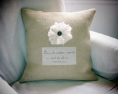 """Emerson """"Live in the Sunshine..."""" Creamy Rose BURLAP PILLOW COVER"""