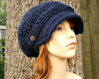 Crochet Hat Womens Hat Navy Blue Newsboy Hat - Crochet Newsboy Hat in Navy Blue Crochet Hat - Blue Hat Navy Hat Womens Accessories