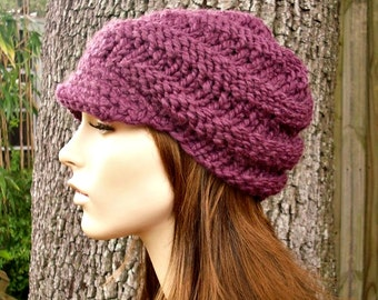 Knit Hat Womens Hat Purple Newsboy Hat - Swirl Beanie with Visor in Fig Purple Knit Hat - Purple Hat Purple Beanie Womens Accessories
