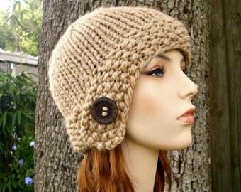 Knit Hat Womens Hat - Cloche Hat Beige Knit Hat - Beige Hat Beige Beanie Beige Cloche Brown Hat Brown Beanie Womens Accessories Winter Hat
