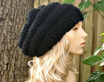 Knit Hat Womens Hat Slouchy Beanie - Oversized Beehive Beret Hat in Black Knit Hat - Black Hat Black Beret Black Beanie Womens Accessories