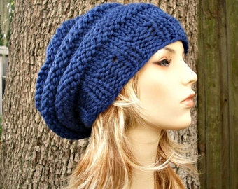 Sapphire Blue Slouchy Beanie Knit Hat Womens Hat - Oversized Beehive Beret Hat - Blue Hat Blue Beanie Blue Beret Womens Accessories