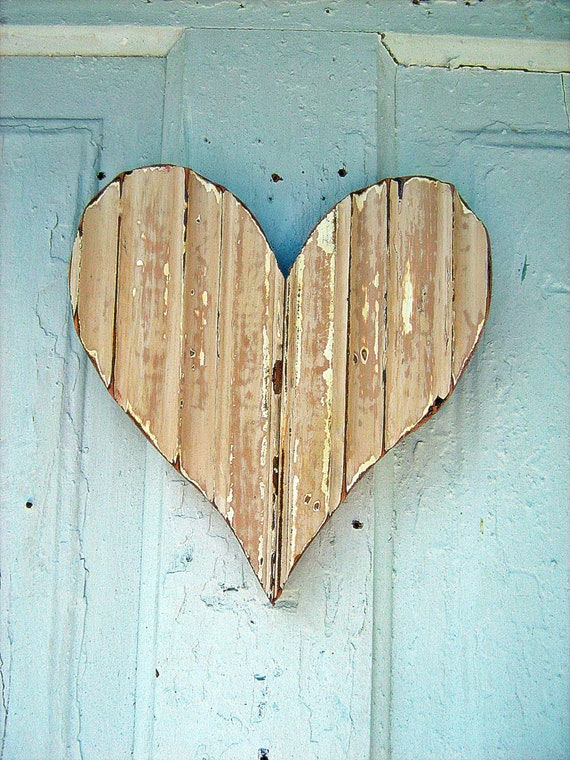 Peach Wall Heart Made From Reclaimed Wood