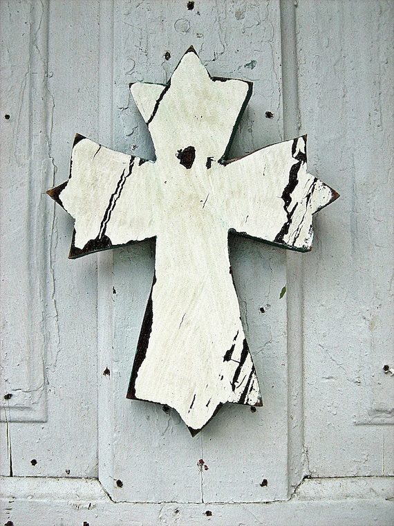 Distressed White Cross Crackled Reclaimed Wood