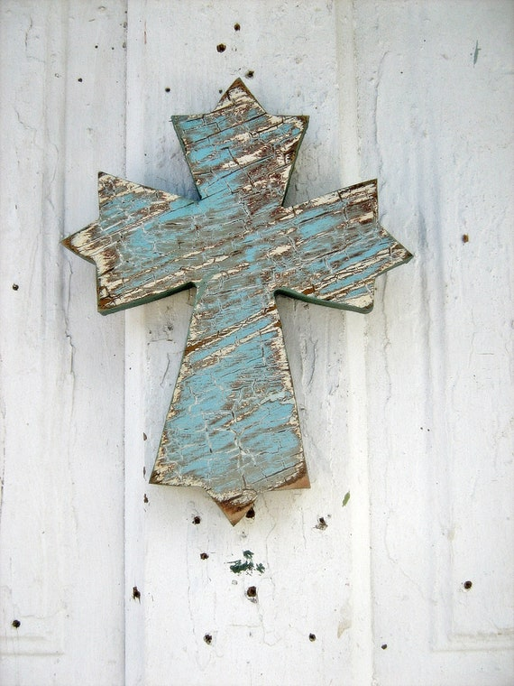 Recycled Wood Wall Cross Blue Reclaimed Wood