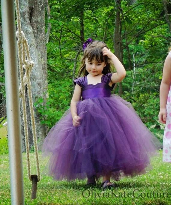 Eggplant Plum Flower Girl Dress