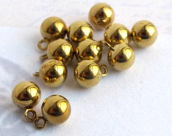 Vintage Shiny Brass Ball Drop Charms (16X) (V345)