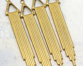 Brass Art Deco Chime Drop Charms (4X) (M688)