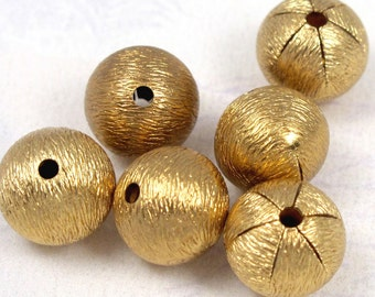 Vintage Gold Plated Brass Textured Beads (8X) (B563)