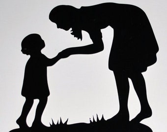 Mom and Child Silhouette Wall Decal Wall Decor Children School Room Decoration 11x11