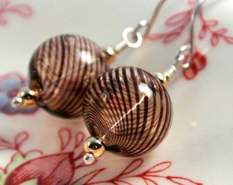 Mocha Brown Blown Glass Ball Earrings- Sterling Silver with Gold Filled Accents