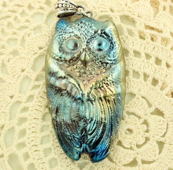 Raku Horned Owl Pendant