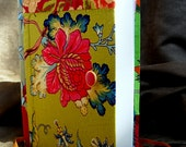 Colorful Guestbook designed with floral quilt, Opens with a red gold button and golden satin ribbon, Bat Mitzvah / New born baby