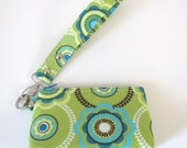 Lime Green and Turquoise Retro Floral Wristlet Zipper Pouch Clutch with Flat Bottom