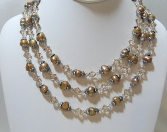 Taupe Freshwater Pearl Triple Strand Renaissance Necklace