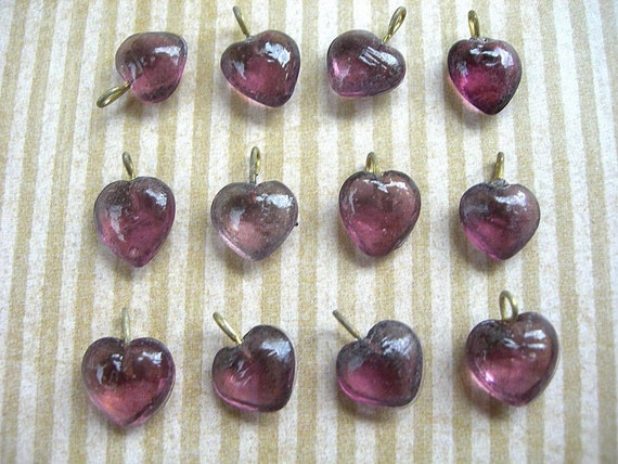 Vintage Purple Amethyst Heart Charms Japanese Pressed Glass Drops lot of 12