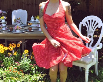 Retro Halter Red Swiss Polka Dot Print Alex Rose Dress