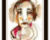 """Portrait Print, Large Giclee Print of an Original Watercolor Painting, Modern Wall Art - """"Realize"""""""