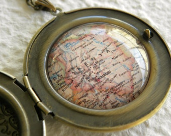Kenya Map Locket - Kenya, Africa featuring Nairobi and Mombasa - Perfect gift for an Adoptive Mother - large size