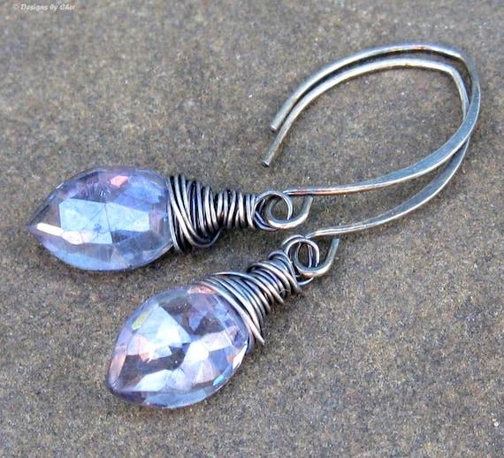 Mystic Violet Blue Quartz Marquis Earrings, Oxidized Sterling Silver Handmade Almond Earwires, Wire Wrapped Dangle Earrings