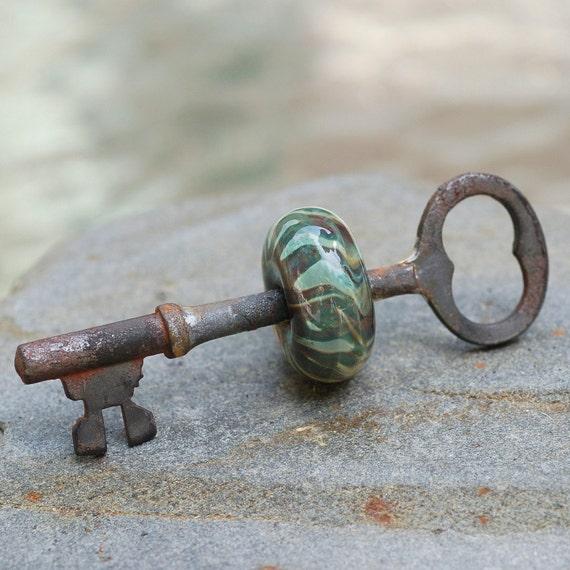 Skeleton Key Boro Glass Beaded Pendant Green Forest