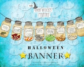 ART TEA LIFE Good Witch Pantry Jars Garland Banner digital file Collage Sheet halloween bat scrapbook decoration gift tag journal