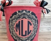 custom monogrammed preppy bucket in pink and navy blue - personalized