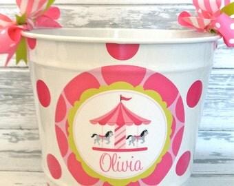 personalized 10 QUART carousel design monogrammed bucket