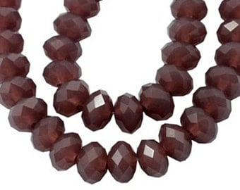 12 Czech glass crystal beads, faceted abacus rondelle (semi opaque plum) 10F, 10x7mm